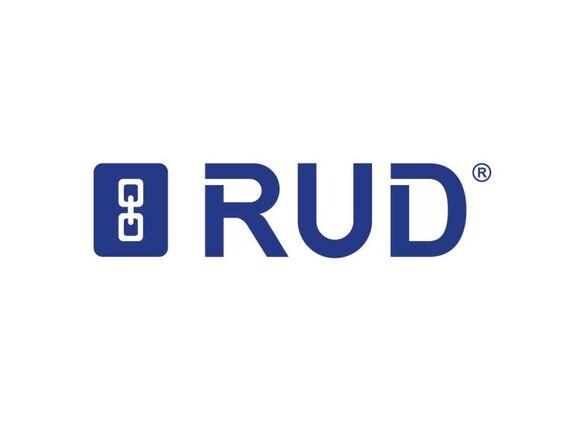 Das Logo des Unternehmens RUD auf weißem Hintergrund.