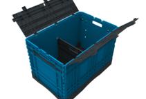 Klappbehälter mit Deckel und Unterteiler