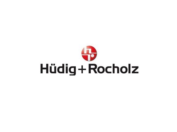 Das Logo des Unternehmens Hüdig + Rocholz auf weißem Hintergrund.