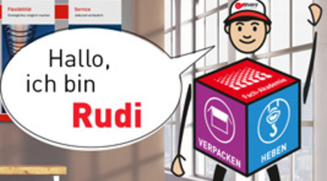 """Unser Maskottchen Rudi steht an einem Fenster und sagt: """"Hallo, ich bin Rudi"""""""