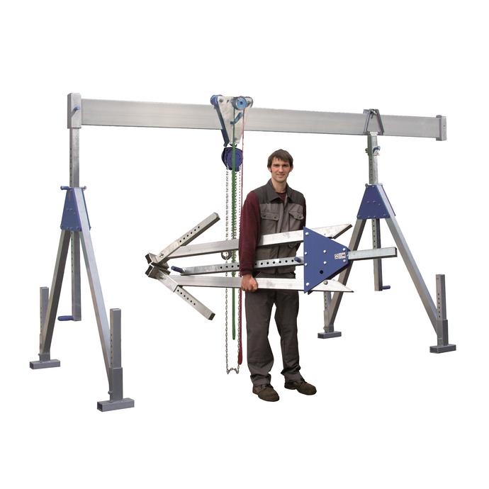 Stationärer Aluportalkran mit Einfachträger bis 1500 kg Tragfähigkeit