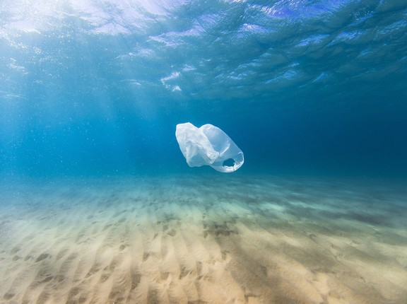 Plastiktüte schwimmend im Meer