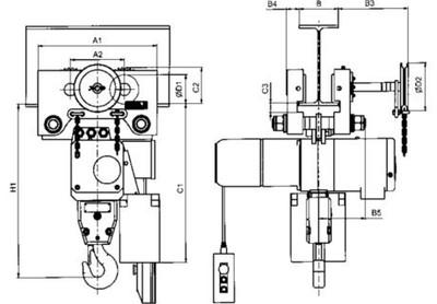 Maße des Elektrokettenzugs Typ 66/04 AK
