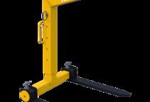 Ladegabel mit selbsttätigem Gewichtsausgleich mit flexibler Ladehöhe. Hier auf der minimalen Höhe eingestellt.