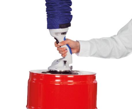 Rundsauggreifer für kompakte Werkstücke wie Kartons, Fässer, Eimer, Kanister oder Korpusse