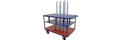 Rollwagen mit Löchern für Metallleisten