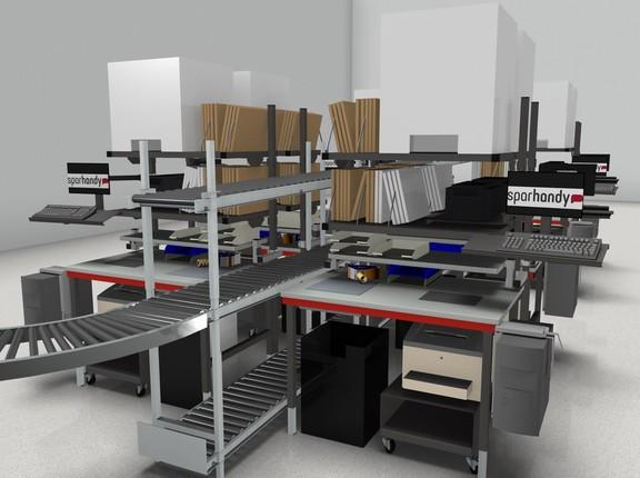 Erstelltes 3D-Modell einer Packtisch- und Förderanlage mit Abstellregalen und einer Rollenbahn in der Mitte
