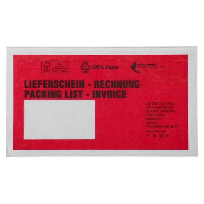 Evers-Begleitpapiertasche aus Papier mit rot bedruckter Vorderseite