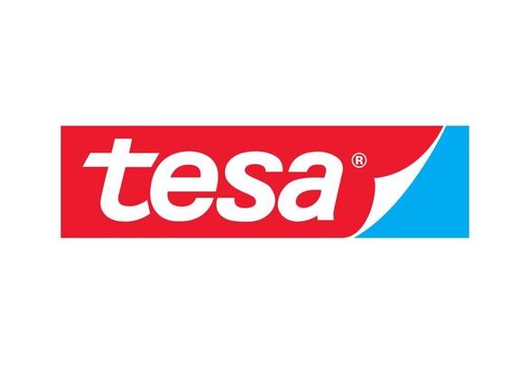 Das Logo des Unternehmens tesa auf weißem Hintergrund.