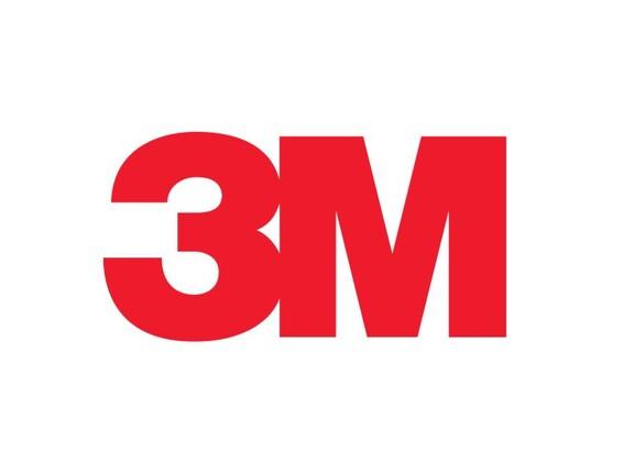 Das Logo des Unternehmens 3M auf weißem Hintergrund.