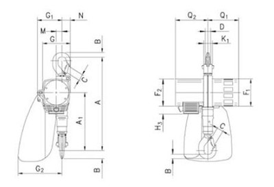 Maße des Druckluftkettenzugs CPA