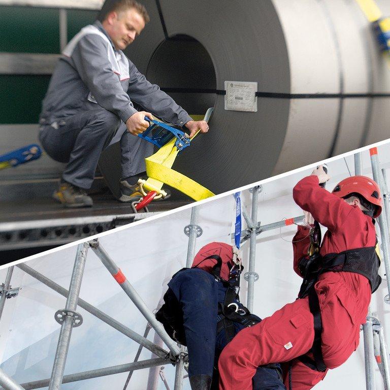 Auf einer Hälfte des Bildes sichert ein Mann große Papierrollen auf einem Anhänger für den Transport. Auf der anderen Hälfte rettet ein Mann einen Dummy zu Vorführungszwecken der Absturzsicherung