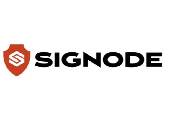 Das Logo des Unternehmens Signode auf weißem Hintergrund.