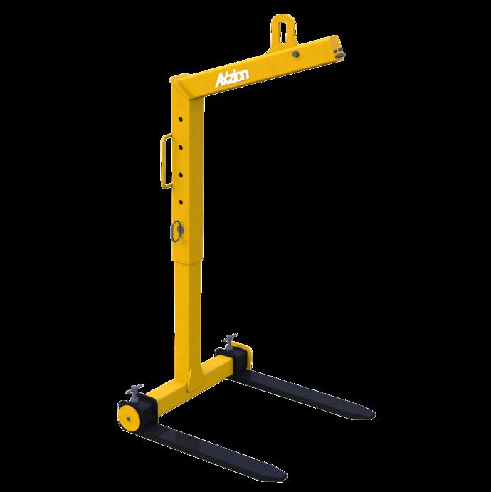 Ladegabel mit selbsttätigem Gewichtsausgleich mit flexibler Ladehöhe. Hier auf der maximalen Höhe eingestellt.