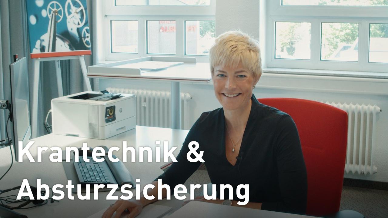 Julia Steiner teasert zu Neuigkeiten in den Bereichen der krantechnik und Absturzsicherung.. hören Sie selbst!